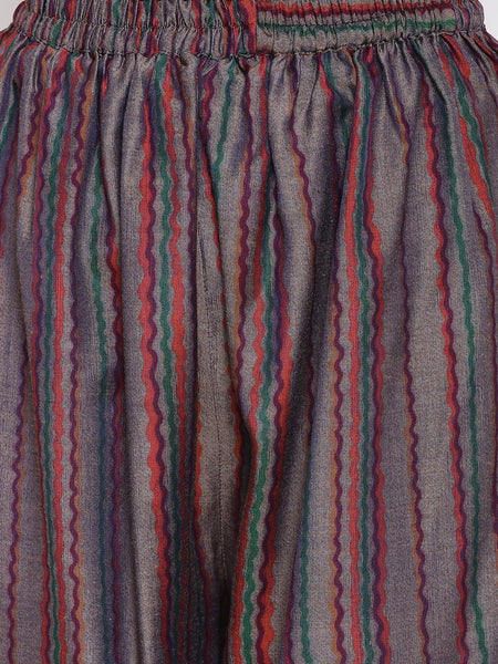 Pink Blue Stripe Kurta Set