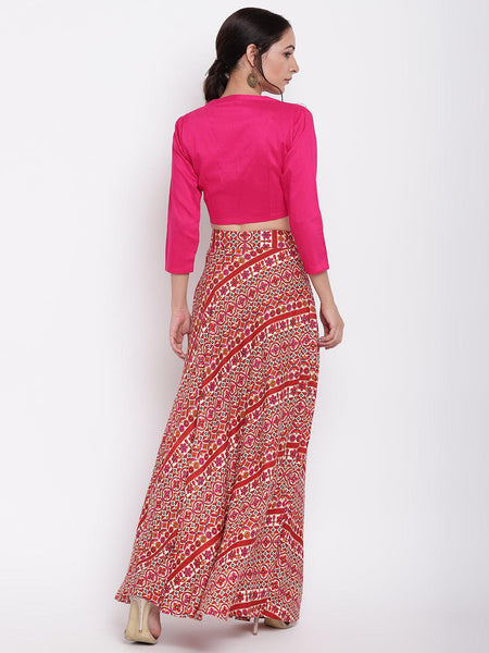 RK Print Pink Skirt-Top Set