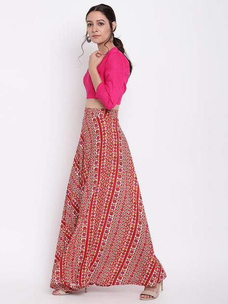 Pink Printed Flared Skirt