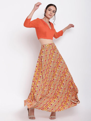 RK Print Orange Skirt-Top Set
