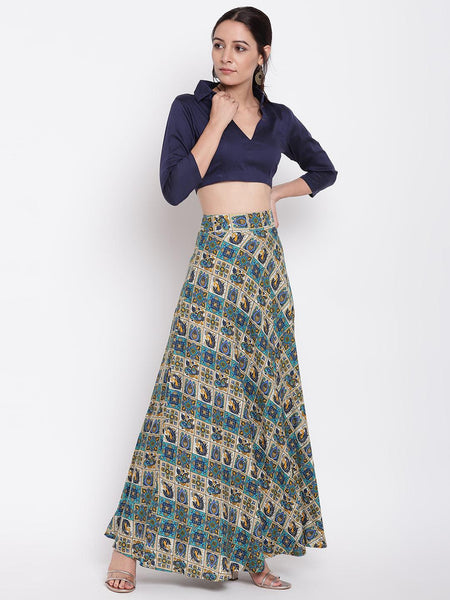 Grid Blue Skirt-Top Set