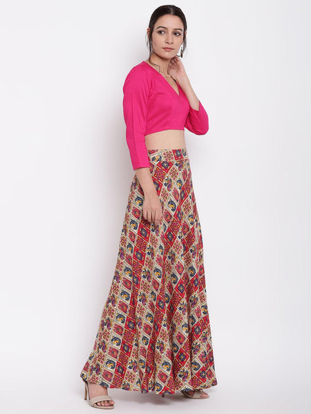 Grid Pink Skirt-Top Set