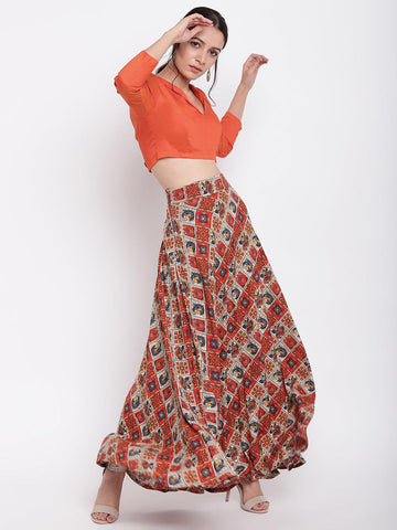 Grid Orange Skirt-Top Set