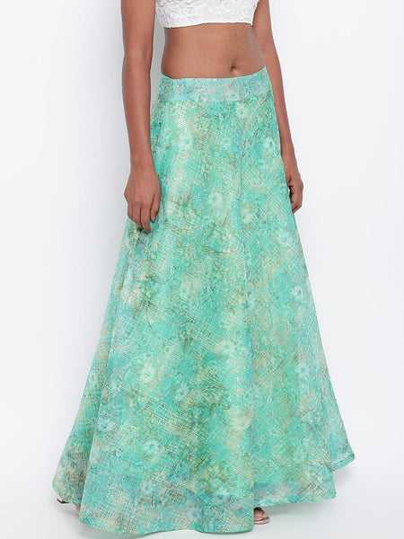 Blue Foil Organza Skirt