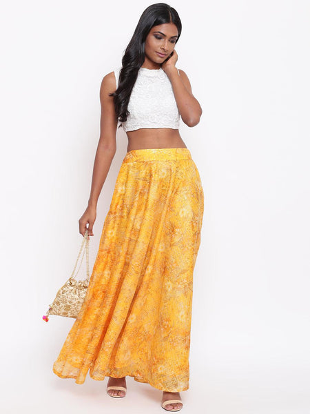 Yellow Foil Organza Skirt