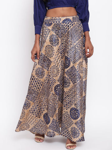 Blue Foil Silk Skirt
