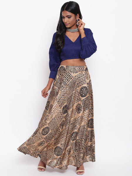 Black Foil Silk Skirt