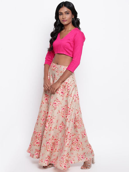 Grey Floral Pink Skirt-Set