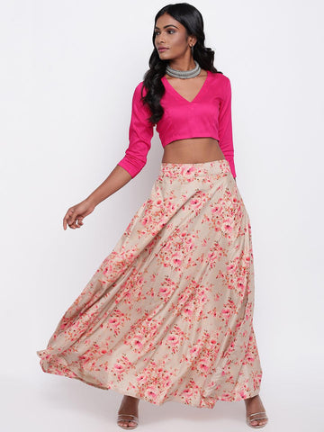 Silk Blend Grey Floral Skirt