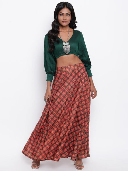 Silk Blend Brown Motif Green Skirt