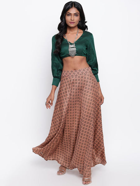 Beige Grid Green Skirt-Set
