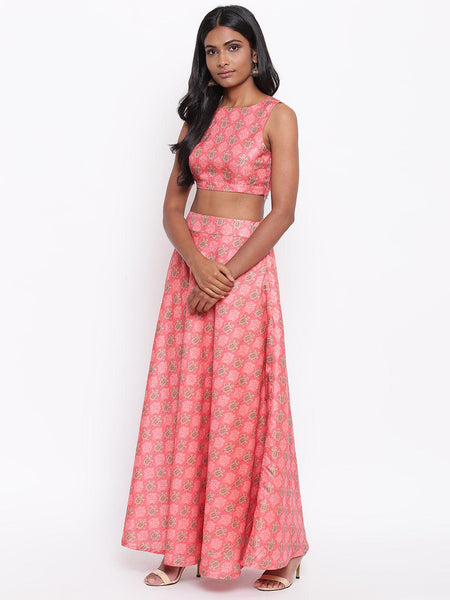 Silk Blend Pink Printed Skirt