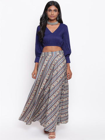 Silk Blend Blue Striped Skirt