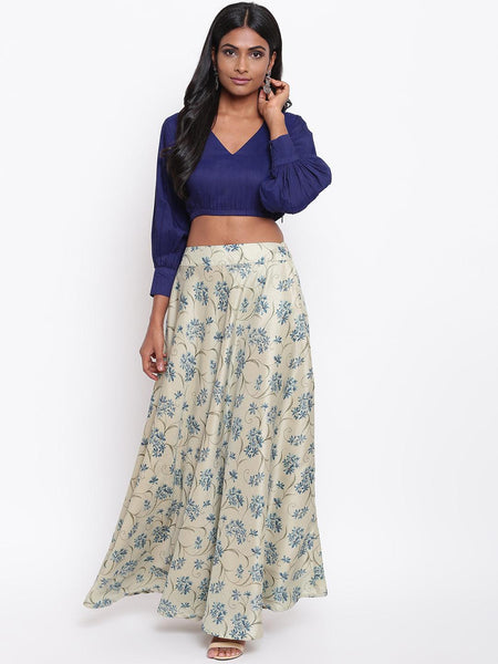 Blue Floral Skirt-Set