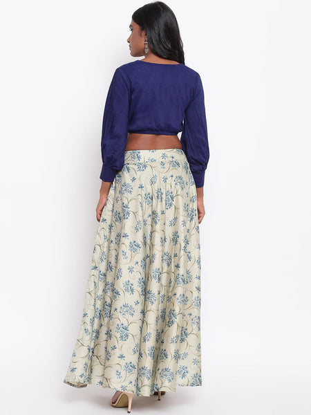 Silk Blend Blue Floral Skirt