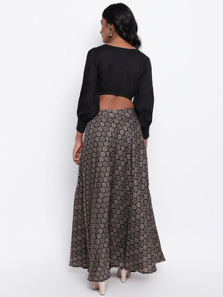 Black Grid Leaf Skirt
