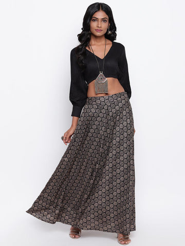 Black Grid Leaf Skirt-Set