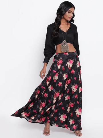 Black Pink Floral Skirt-Set