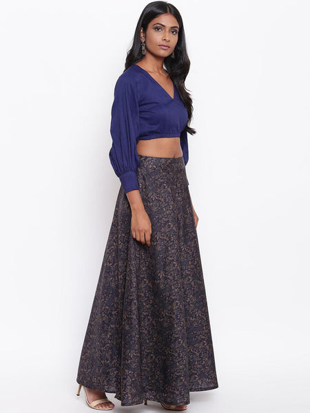 Silk Blend Blue Jaal Skirt