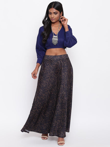 Blue Jaal Skirt-Set