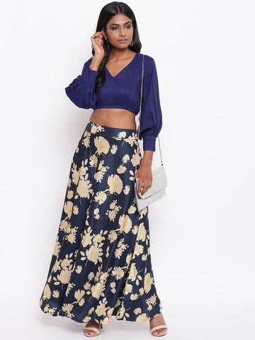 Silk Blend Blue Yellow Floral Skirt