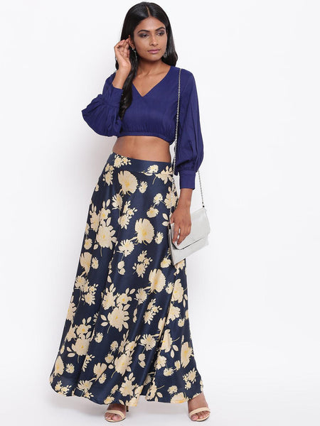 Blue Yellow Floral Skirt-Set