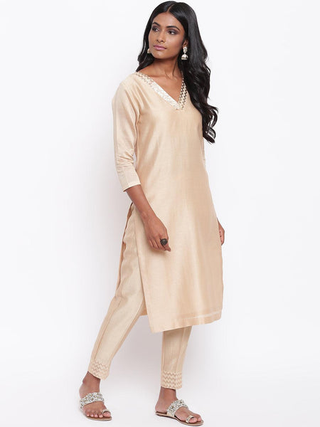 Beige Foil Neck Kurta Set