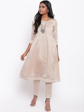 Grey Gota Gathered Kurta