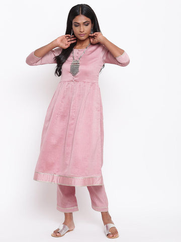 Pink Gota Gathered Kurta