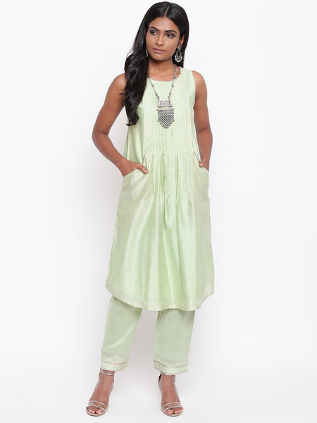 Green Gota Pleats Kurta