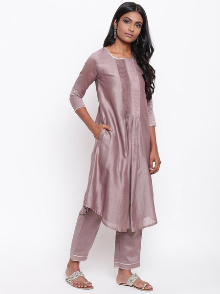Rosy Brown Gota Pleats Kurta