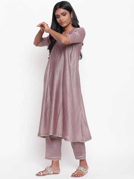Rosy Brown Gota Flared Kurta