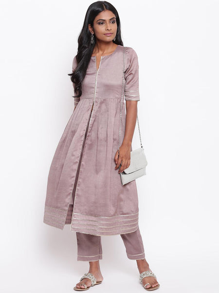 Rosy Brown Gota Slit Kurta