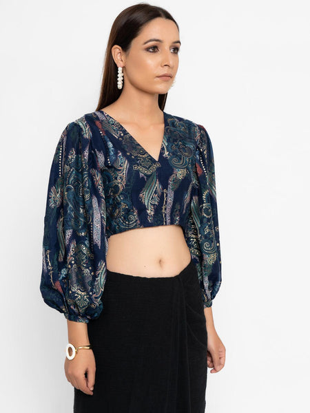 Blue Gold Foil Balloon Sleeve Blouse