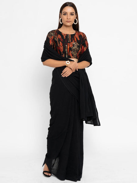 Black Gold Foil Tassle Blouse