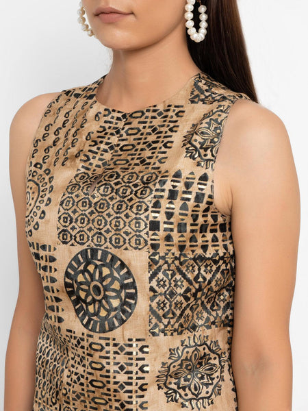 Beige Gold Foil Silk Sleeveless Blouse