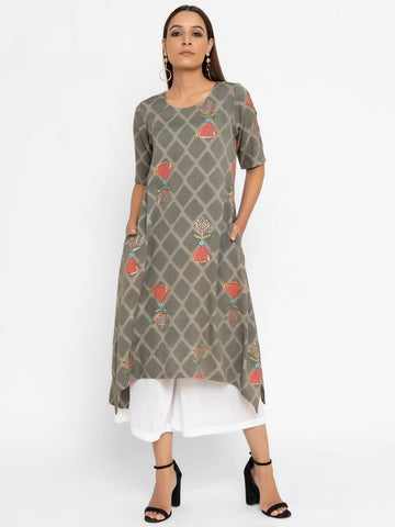 Grey Pink Floral Grid Cotton Kurta