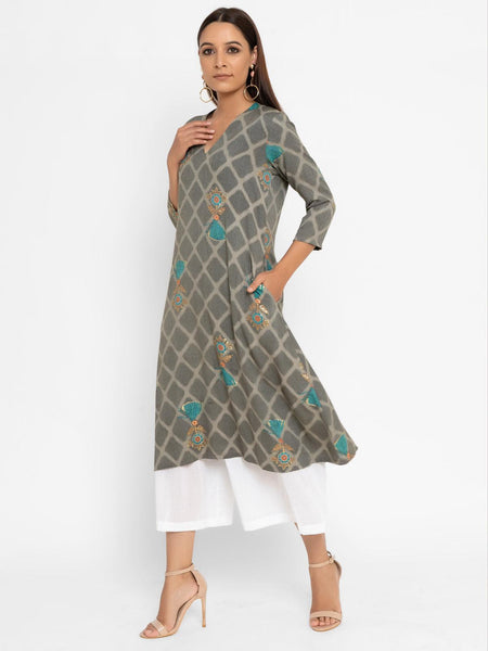 Grey Blue Floral Grid Cotton Kurta