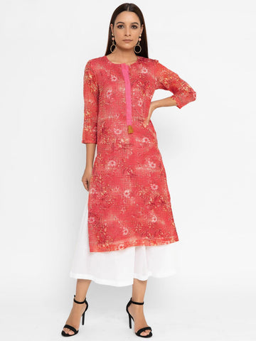 Red Printed Straight Kurta