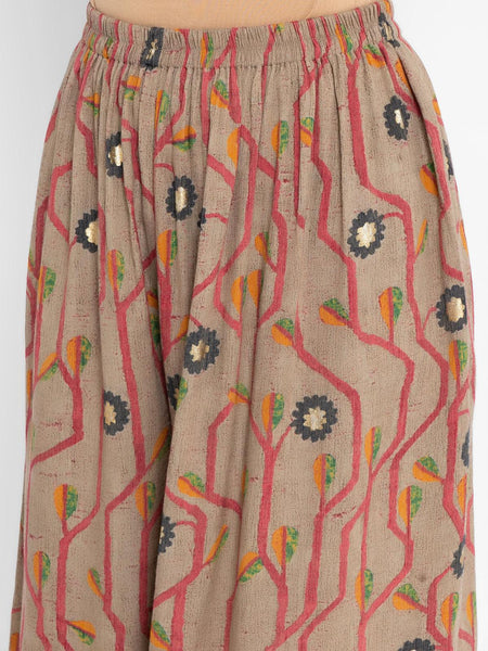 Pink Cotton Silk Sleeveless Kurta printed pants