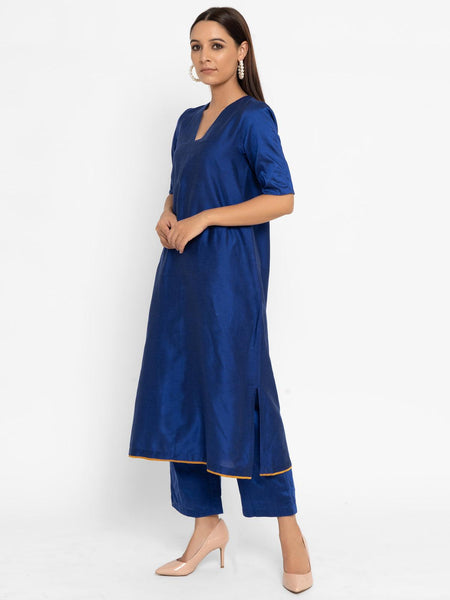 Cotton Silk Royal Blue Kurta Pants