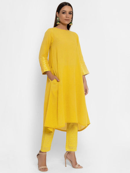 Chanderi Yellow Striped Pant