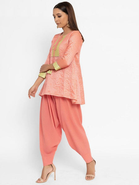 Chanderi Peach Front Tie-Up Flared Kurta Patiala Set