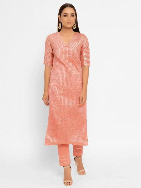 Chanderi Peach Striped Diagonal Yoke Straight Gota Kurta Pant Set