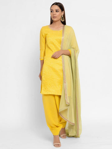 Chanderi Yellow Striped Tassel Kurta Dupatta Set