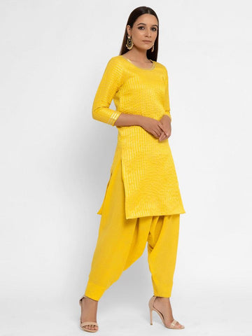 Chanderi Yellow Striped Tassel Kurta Pant Set