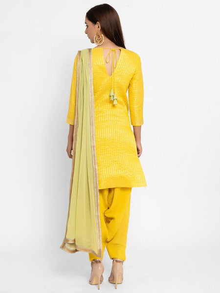 Chanderi Yellow Striped Tassel Kurta
