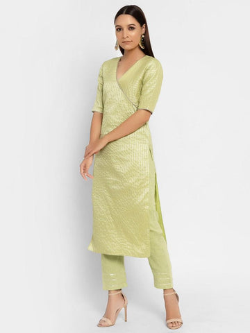 Chanderi Green Striped Straight Gota Kurta Pant Set