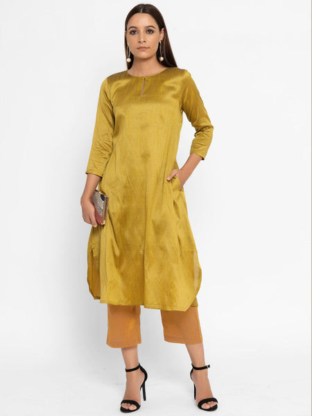 'SEPTEMBER-Separates-SPECIAL' Green Silk Blend Kurta