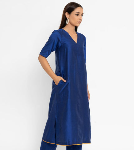 'SEPTEMBER-Separates-SPECIAL' Royal Blue Cotton Silk Kurta